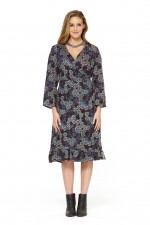 Greta Rayon Wrap Dress - Twilight Print