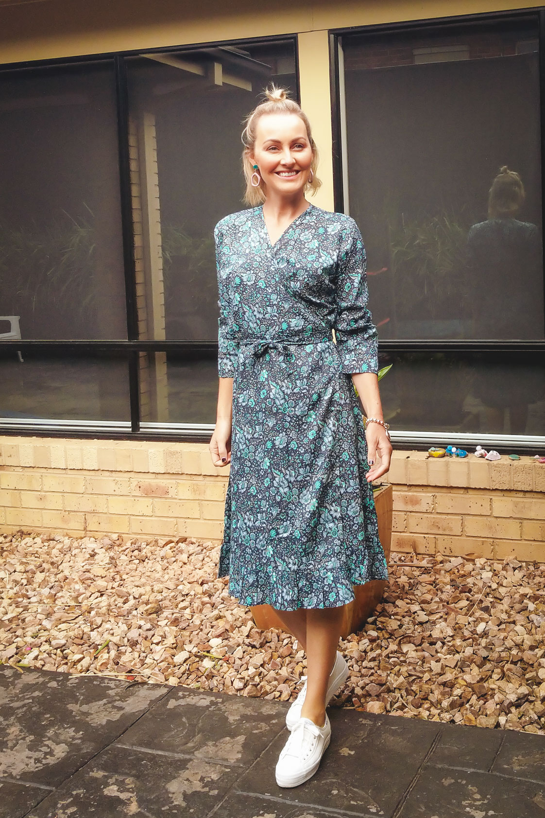 Greta Rayon Wrap Dress - Lark Print