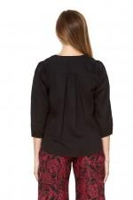 Opera L/S Linen Top - Black