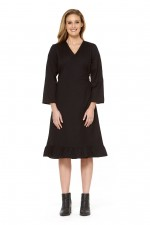Alyce Linen Wrap Dress - Black