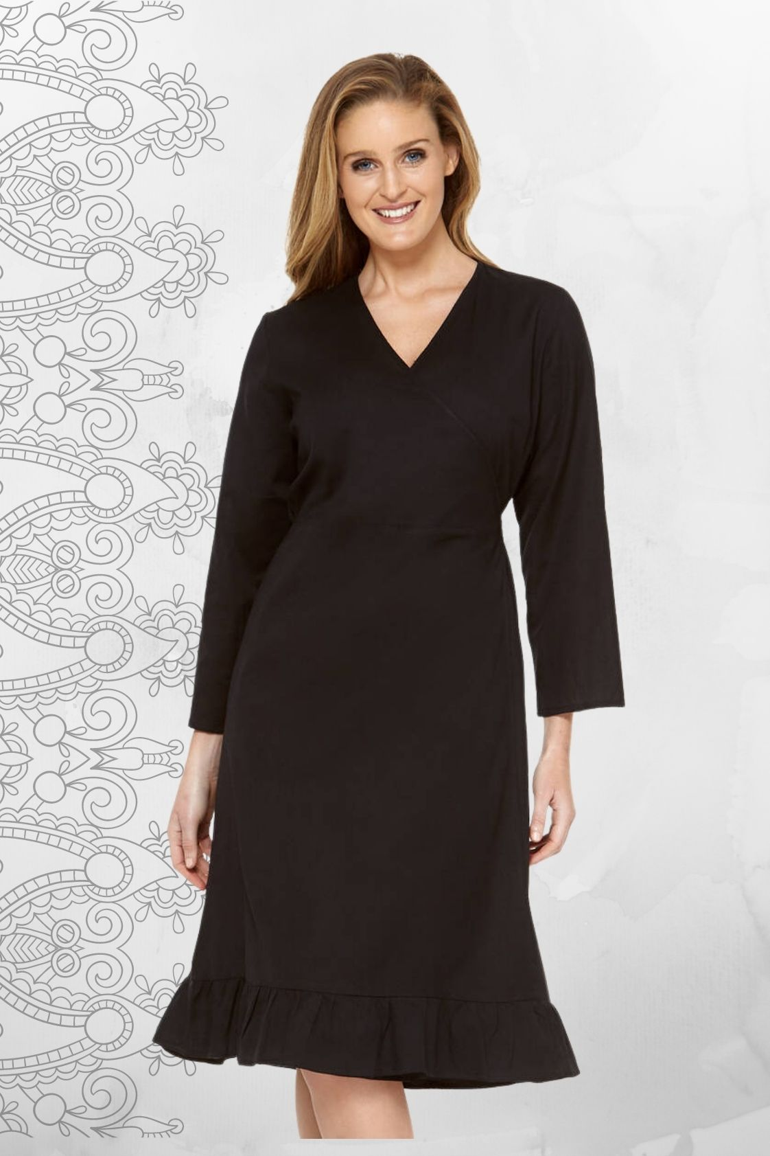 Alyce Linen Wrap Dress - Black