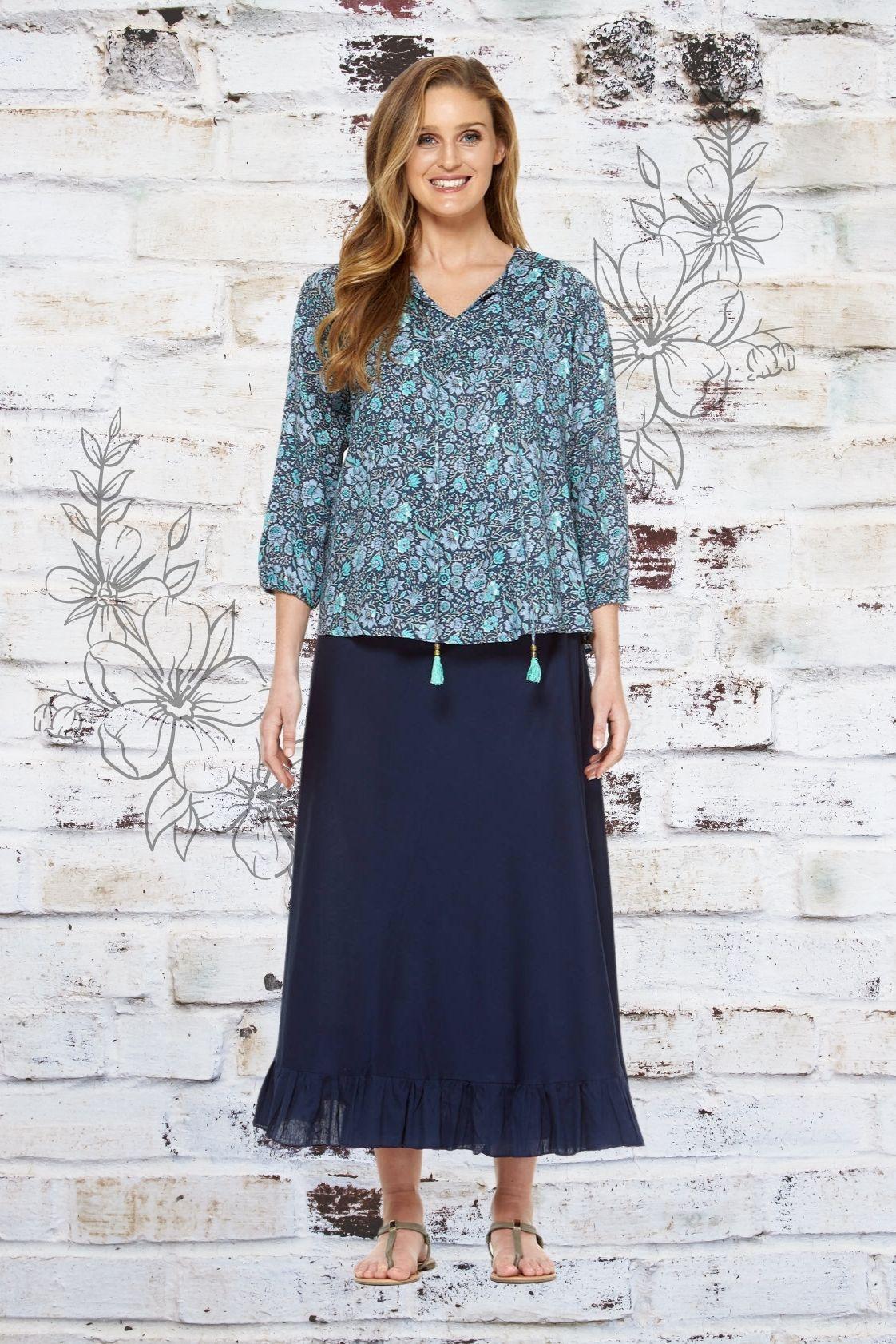 Madrid Wrap Linen Skirt - Navy Blue