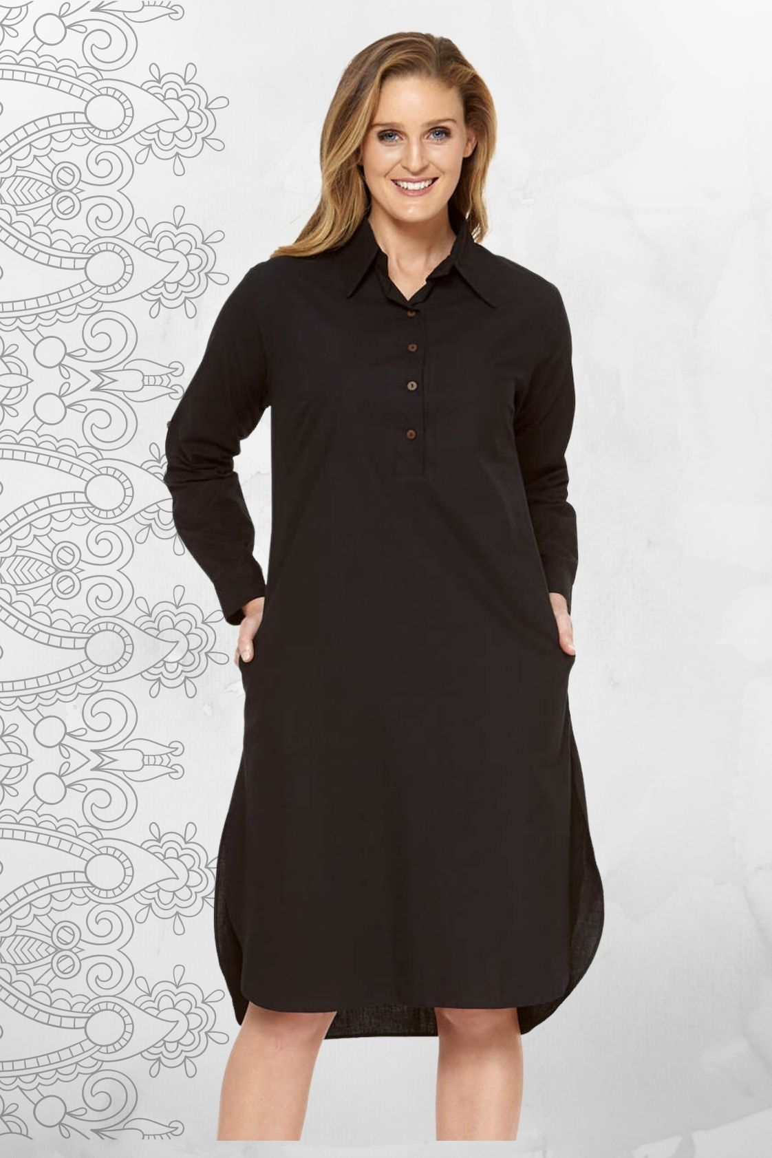 Anjali Cotton Shirtdress - Black