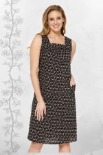 Kendra Cotton Strap Dress - Ditsy Black Print