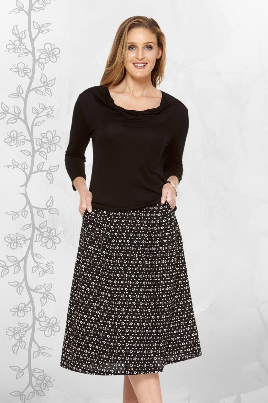 Jessica Cotton Skirt with Pockets - Ditsy Black Print