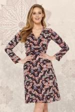 Sunburst  L/S Wrap Dress - Fuji Print