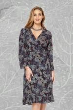 Greta Rayon Wrap Dress - Twilight Print