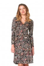 Sunburst  L/S Wrap Dress - Persian Print