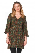 Annabell  Rayon Dress with Bell Sleeves - Twiggy Print