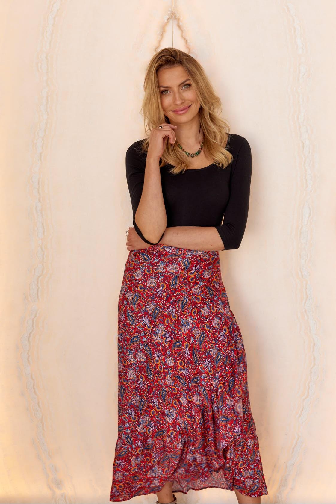 Ole Maxi Wrap Frill Skirt -Sherbet Print