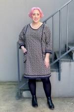 New Connie L/S Dress - Hatch Print