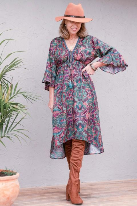 New Nania Rayon Dress - Swirl Print