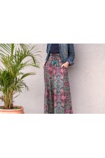Nat Rayon Trouser with pockets - Swirl Print
