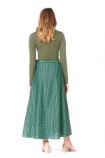 Grace Long Cotton Wrap Skirt - Forest Print