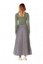 Grace Long Cotton Wrap Skirt - Hatch Print