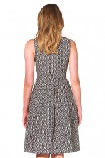 Jude Cotton 50's A-Line Dress - Hatch Print
