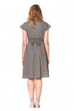 Astrid Cotton Wrap Dress - Hatch Print