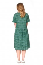 Harper Oversized Cotton Dress - Forest Print
