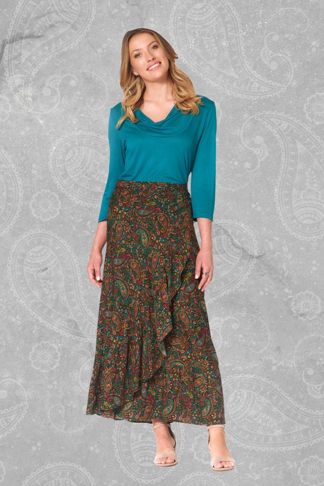 Ole Maxi Wrap Frill Skirt -Twiggy Print