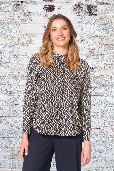 Saffie L/S Cotton Shirt - Hatch Print