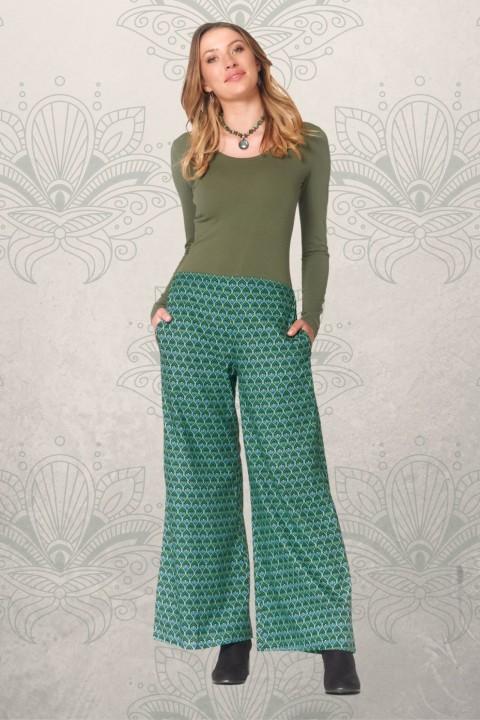 Sarita Cotton Pants - Forest Print